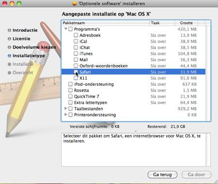 Optionele software-installeren