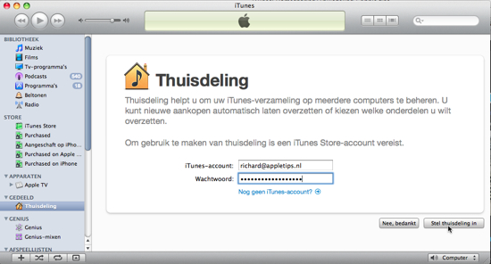 iTunes-thuisdeling-login
