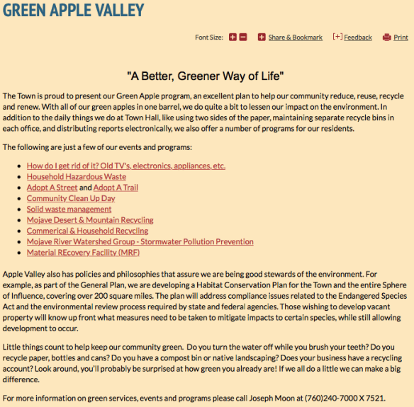 Town of Apple Valley Green Apple Program