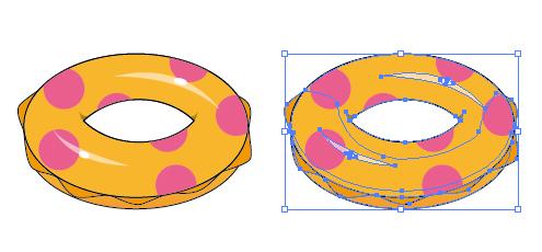 海プールの必需品浮き輪のイラスト イラレベクトルデータ無料配布