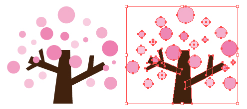 桜の木のポップなイラスト