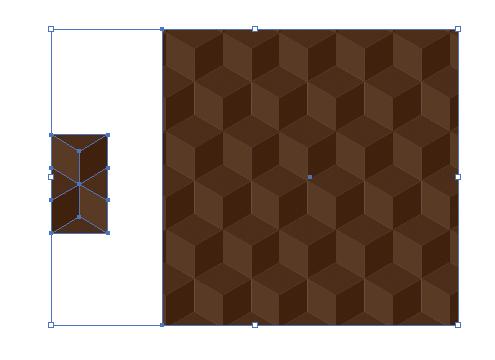 茶色い立方体が連続したような模様のパターン