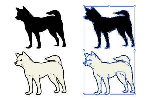 日本犬のイラストと影絵素材 無料配布イラレイラストレーター
