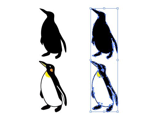 ペンギンのイラストと影絵素材
