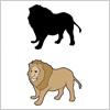 たてがみのたくましいライオンのイラストと影絵素材
