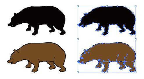 茶色いクマのイラストと影絵素材