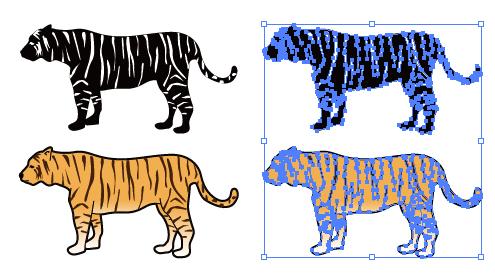 トラのイラストと影絵素材