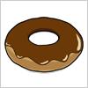 チョコレートが上にかかったドーナツのイラスト