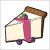 ルベリーとミントが添えられた、レアチーズケーキのイラスト