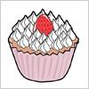 いちごののったカップケーキのイラスト