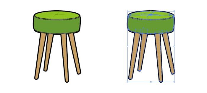 緑色のスツールのイラスト