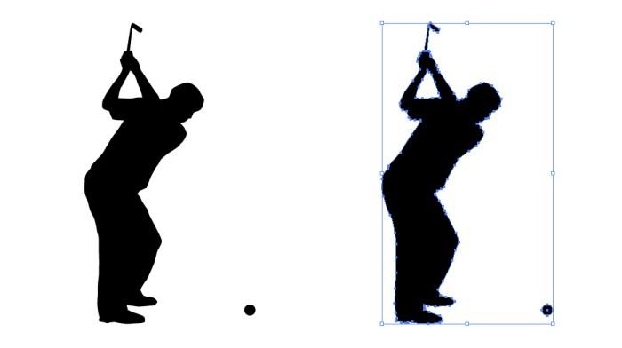 ゴルフスイング(アイアンショット)をする男性の影絵イラスト