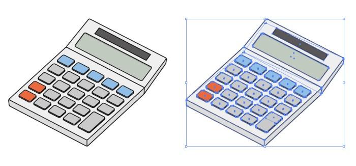 卓上計算機・電卓のイラスト素材