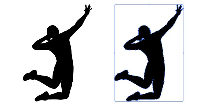 バレーボールのアタックの影絵シルエット
