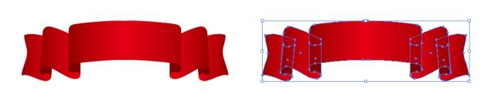 赤い帯・リボンのイラスト素材