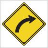 右への屈曲を表す道路標識