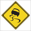 道路が滑りやすいことを表す道路標識
