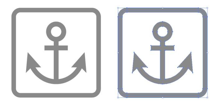 船舶・船着場(錨)の簡易アイコンイラスト