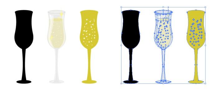 シャンパングラスのイラストセット