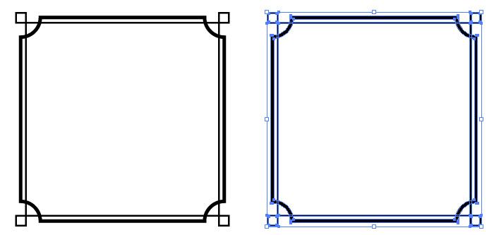 シンプルな四角のモノクロフレーム枠 無料配布イラレ
