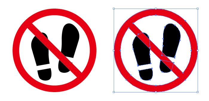 足あと あしあと 足跡 アイコンの土足厳禁標識マーク