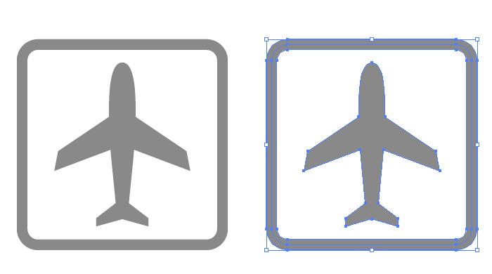 空港を表す飛行機マークのアイコンイラスト