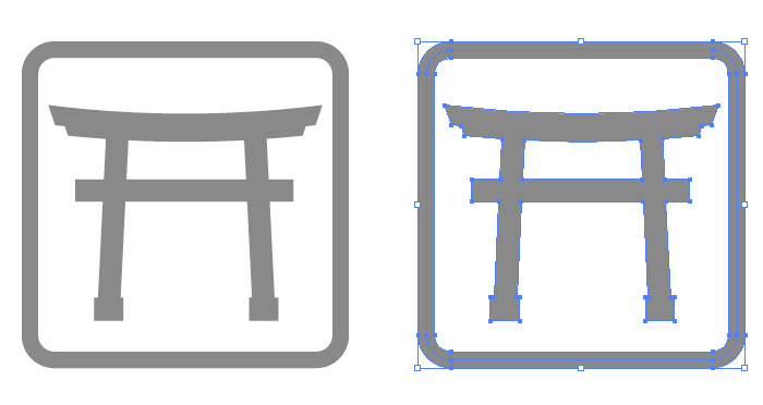 神社を表す鳥居の簡易アイコンイラスト