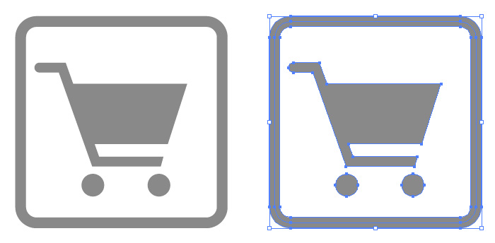 ショッピング施設の簡易アイコンイラスト