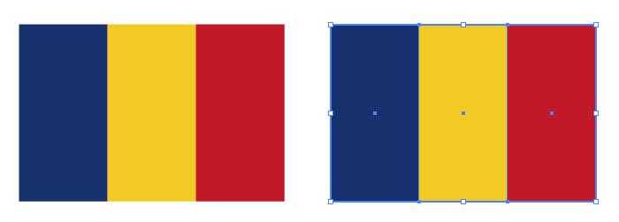 青・黄・赤の組み合わせからなるルーマニアの国旗