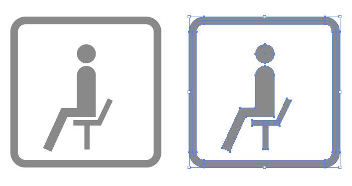 休憩所・ベンチの簡易アイコンイラスト