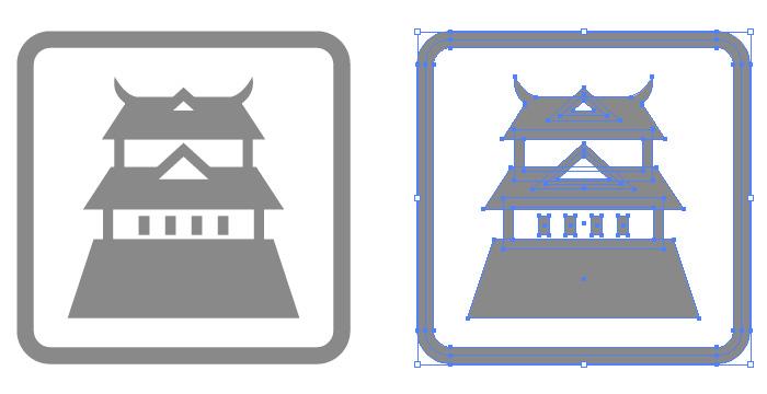 日本のお城の簡易アイコンイラスト