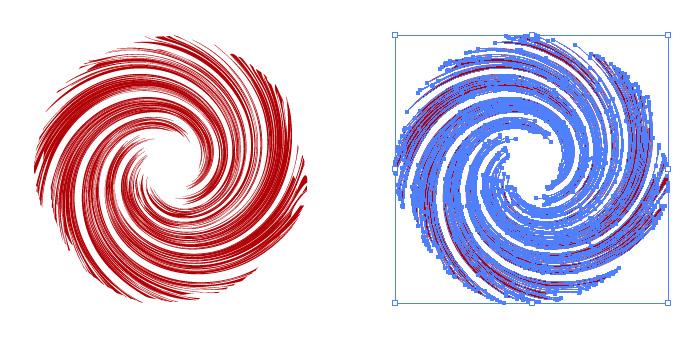 赤色の旋回する集中線