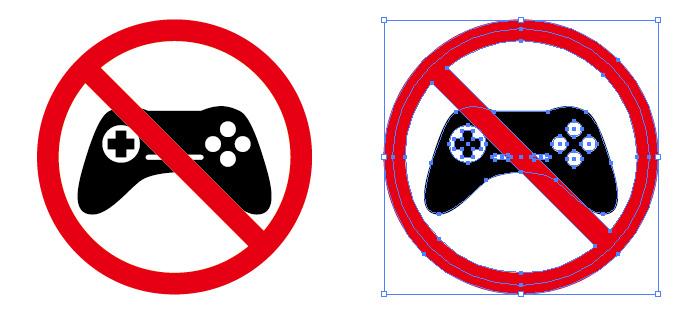 ゲーム禁止の注意標識アイコンマーク