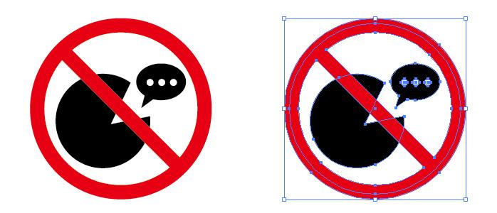 くちコミやおしゃべり禁止を表す標識アイコンマーク