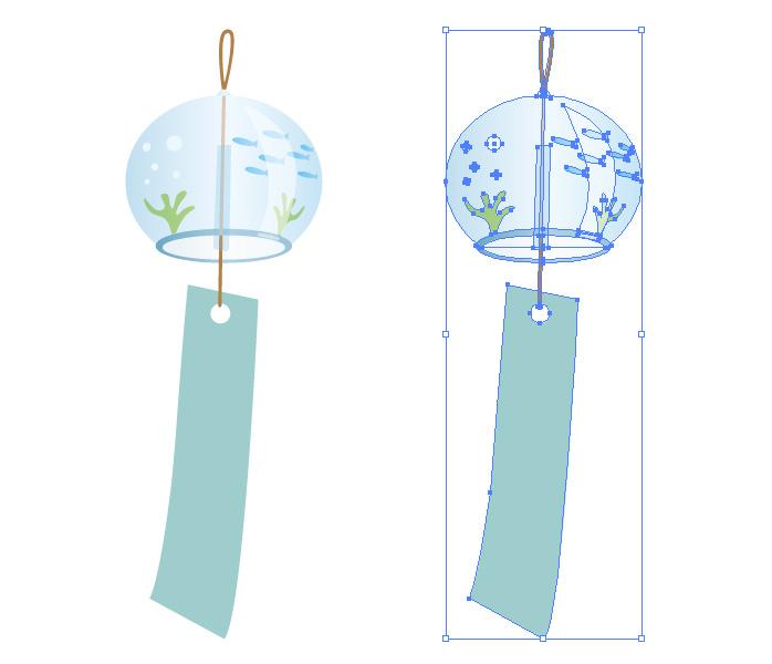 夏の風物詩、ガラスの風鈴のイラスト