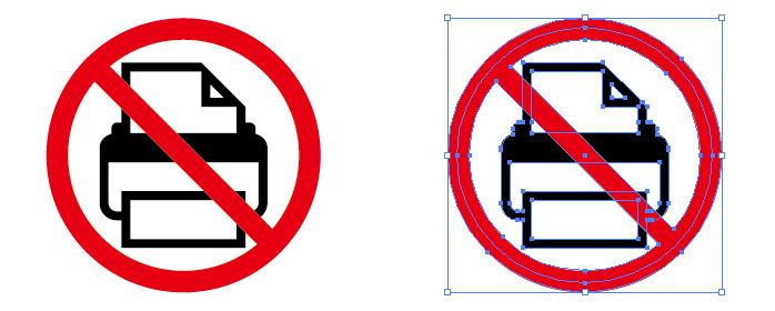 プリンターの使用禁止を表す標識アイコンマーク