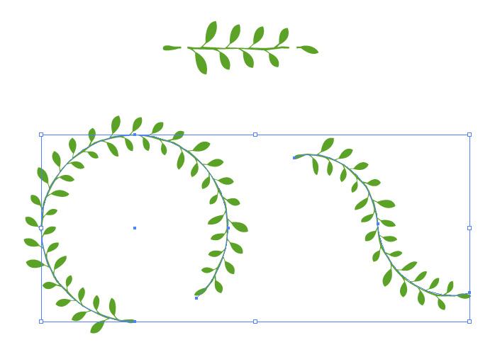 葉っぱが並ぶ、装飾用イラレ・パターンブラシ