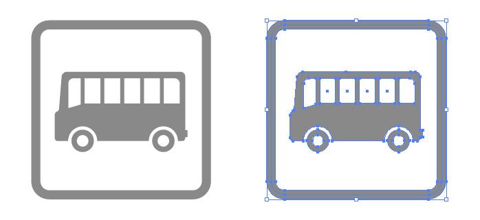 バス乗り場案内の簡易アイコンイラスト