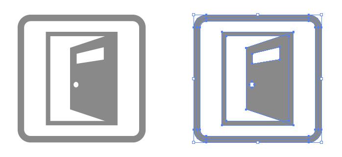 押戸(奥)の案内の簡易アイコンイラスト