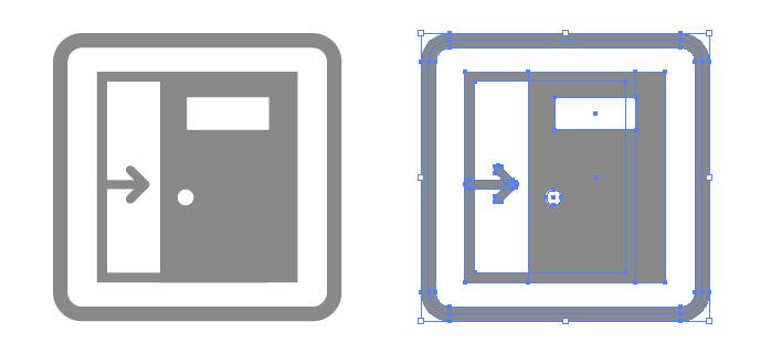 引き戸・スライドドア案内の簡易アイコンイラスト