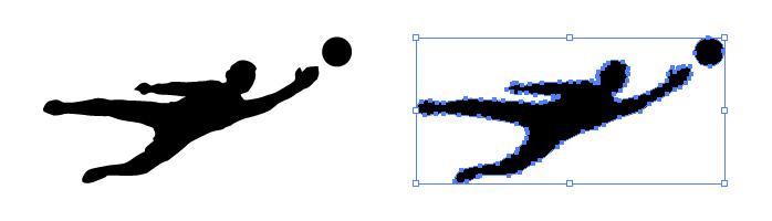 サッカーのキーパー(片手セーブ)のシルエットイラスト