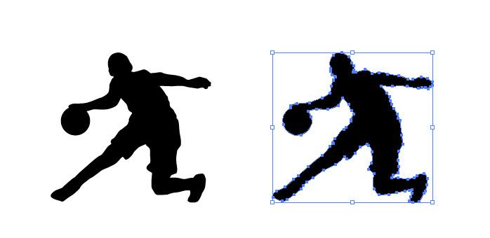 バスケットでドリブルしながらボールキープするシルエットイラスト