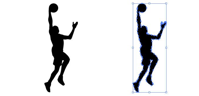 バスケットのレイアップシュートのシルエットイラスト