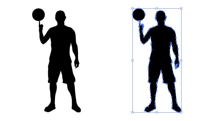 バスケットボールを指で回している男性のシルエットイラスト