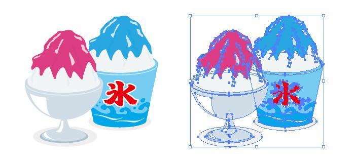 シロップのかかったかき氷のイラスト