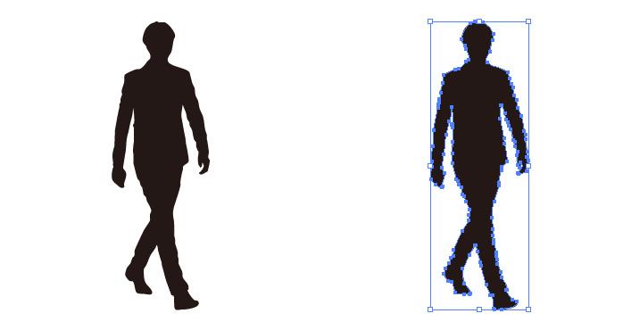 ゆったりと歩く男性のシルエット・影絵素材