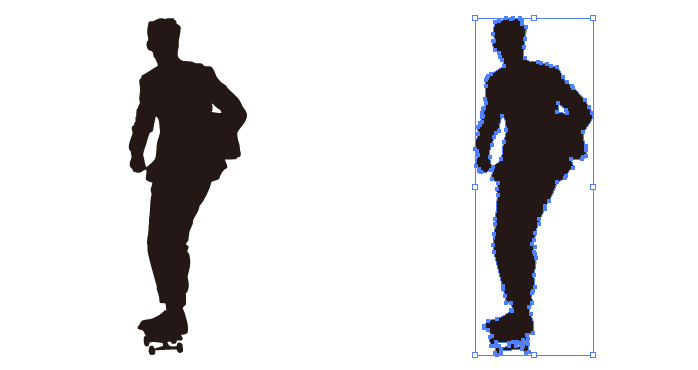 スケボー  スケートボード 移動する男性のシルエット・影絵素材