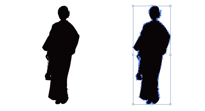 着物を着る女性のシルエット・影絵素材