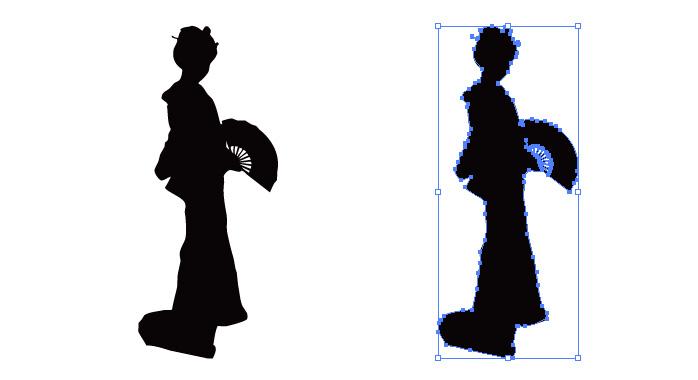 扇子を持った着物の女性のシルエット・影絵素材
