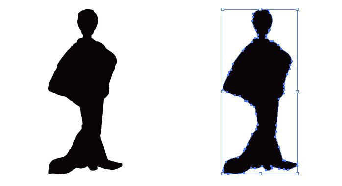 着物の女性のシルエット影絵素材 無料配布イラレ